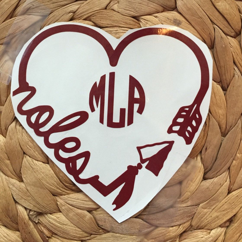 Fsu Noles Heart Arrow Inspired Decal Florida State Seminoles Inspired Monogram Decal Car Decal Yeti Decal Swell De Heart With Arrow Monogram Cups Etsy Shop [ 1119 x 1119 Pixel ]