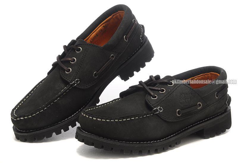 3-Eye Boat Rubber-Sole Shoe Black