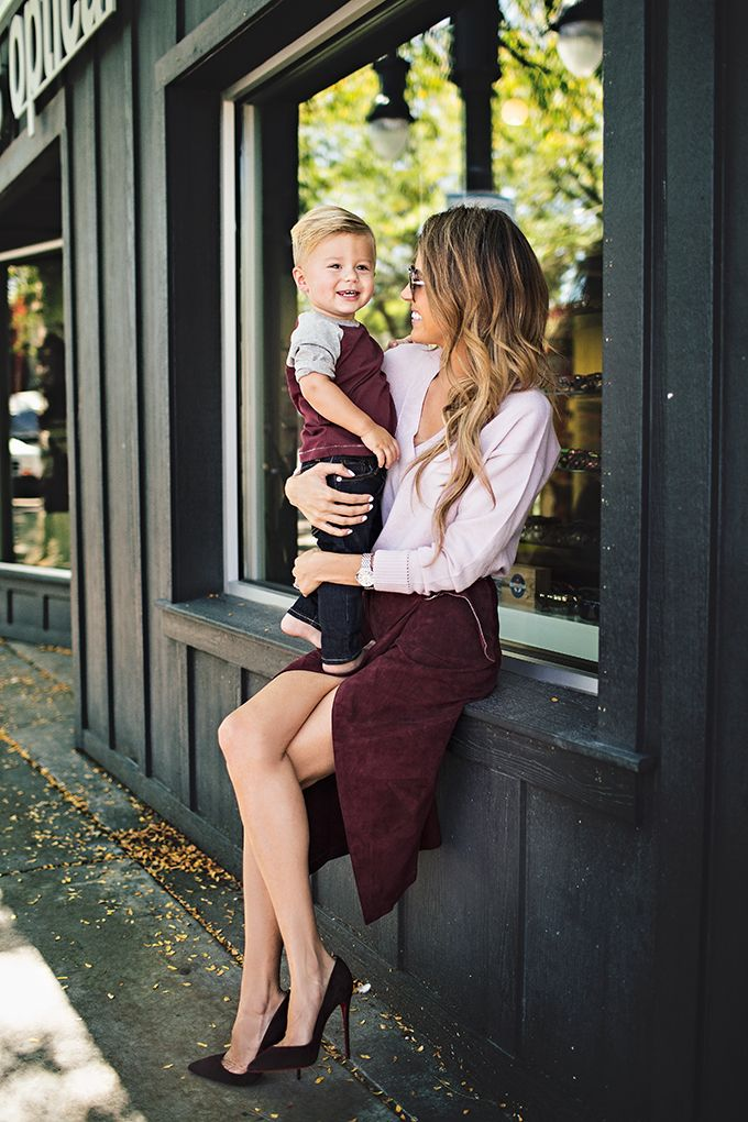 e5602c62b Burgundy Suede Heels | Hello Fashion Blog | Mom, son outfits, Mommy ...