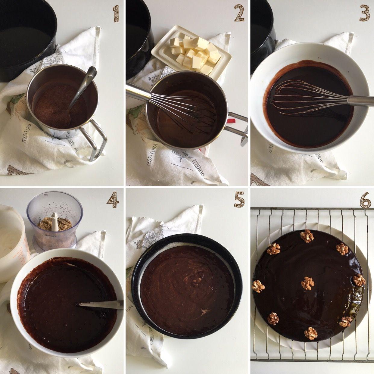 Torta rumena al cioccolato e noci