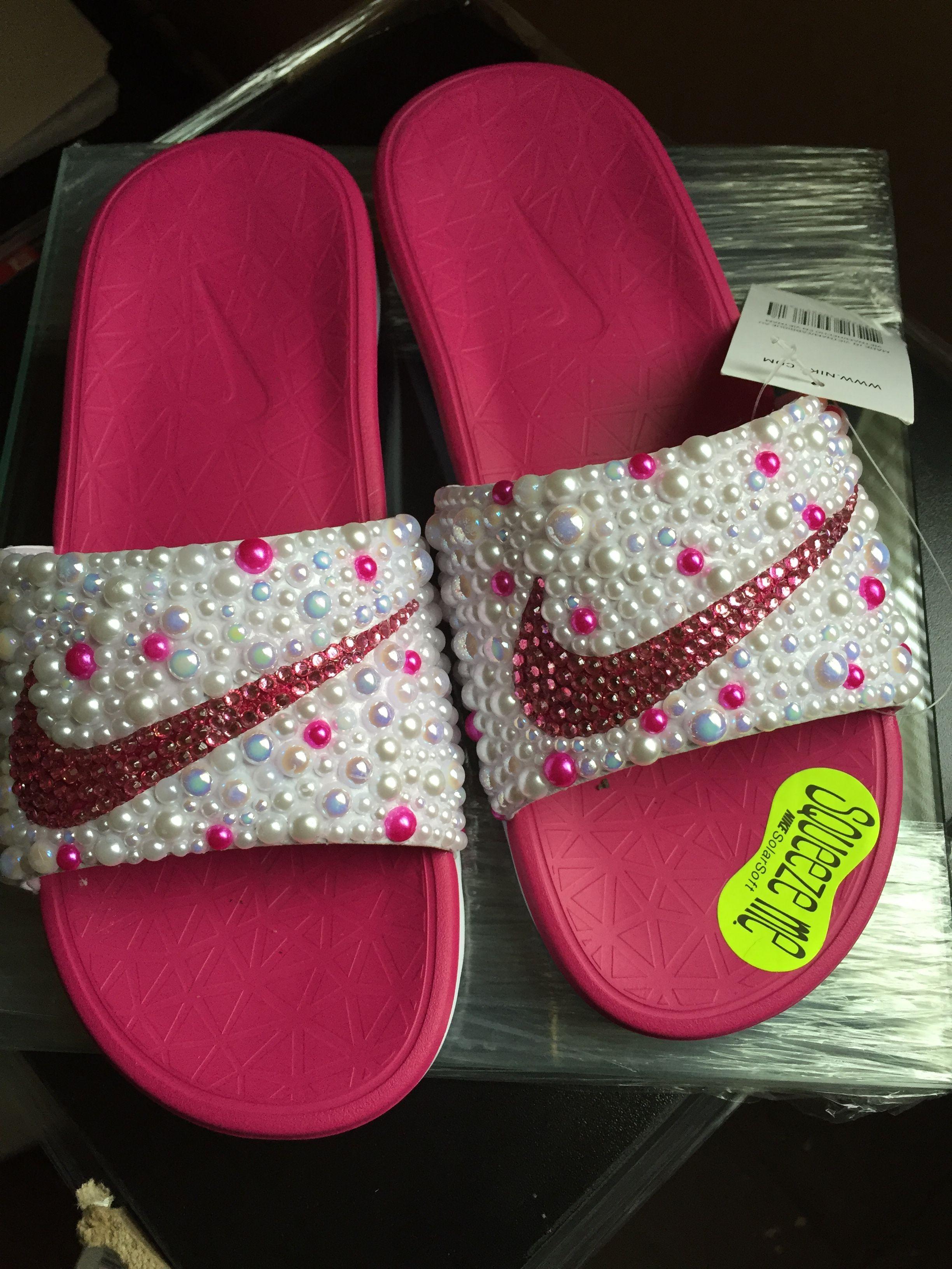 334962cf4cc5 Custom Bling Nike Flip Flop Slides Benassi JDI slides