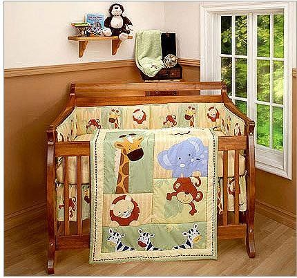 Animals Cot Set Crib Bedding Jungle Monkey Giraffe Lion Zebra Baby