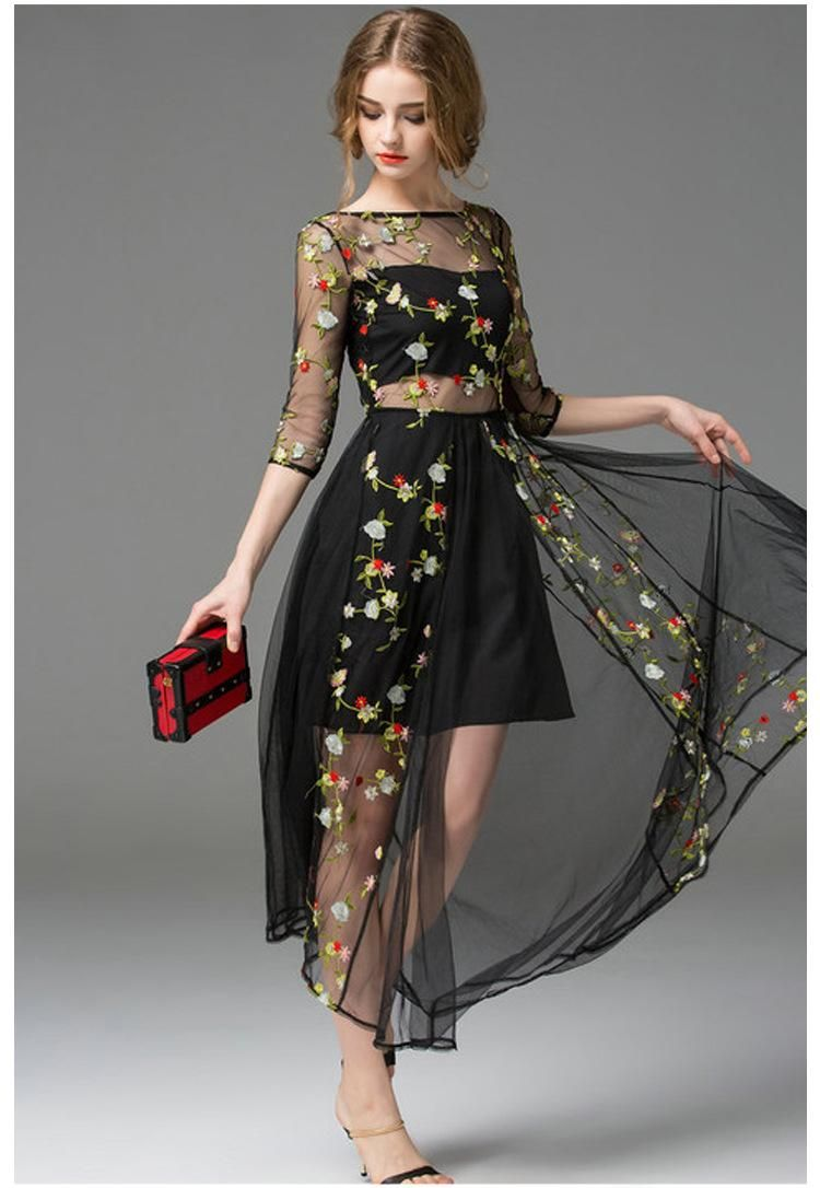 9d4e6eb586f Hot Black Embroidery Morning Glory Long Sleeve Gauze Runway Formal Dress  Mesh Embroidered Maxi Boutique Dress Big Show Catwalk Full Dress From  Megagoods