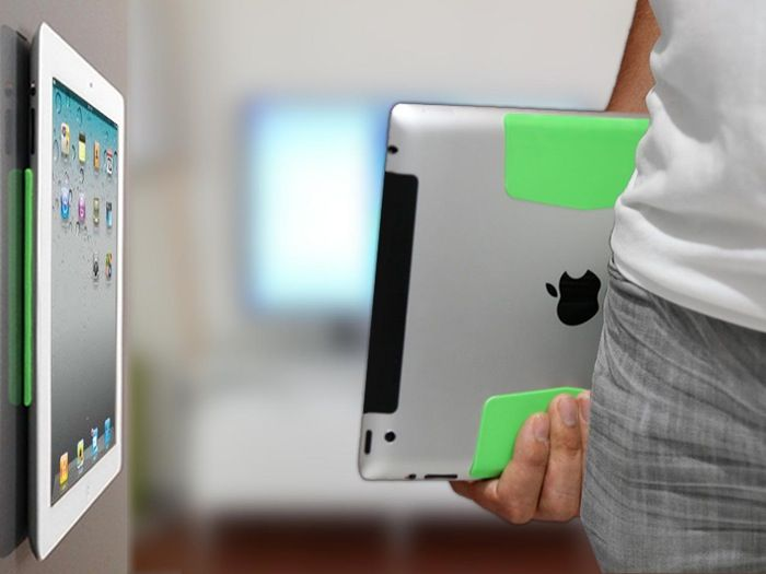 MagStick The World's Thinnest iPad Mount Works On Any Surface - The MagStick iPad mount consists of two soft silicone pads attache to the back of the tablet that enable your iPad to be easily attached or detached from flat surfaces.   Geeky Gadgets