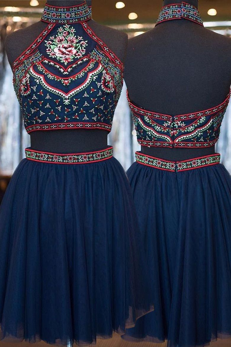Two piece high neck aboveknee navy blue tulle homecoming dress with