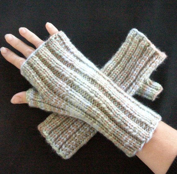 Blue Green and Brown Fingerless Texting Gloves by MFcrafts on Etsy, $25.00