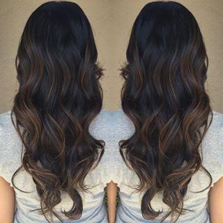 caramel balayage dark hair pinteres