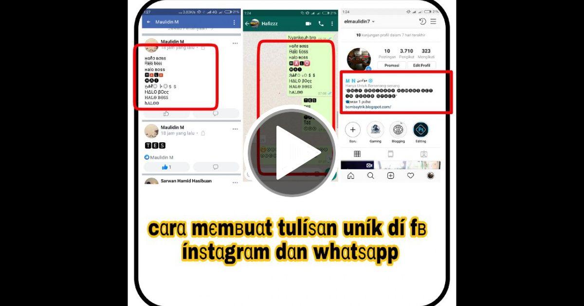 Cara Membuat Tulisan Unik di facebook, instagram dan whatsapp | VC