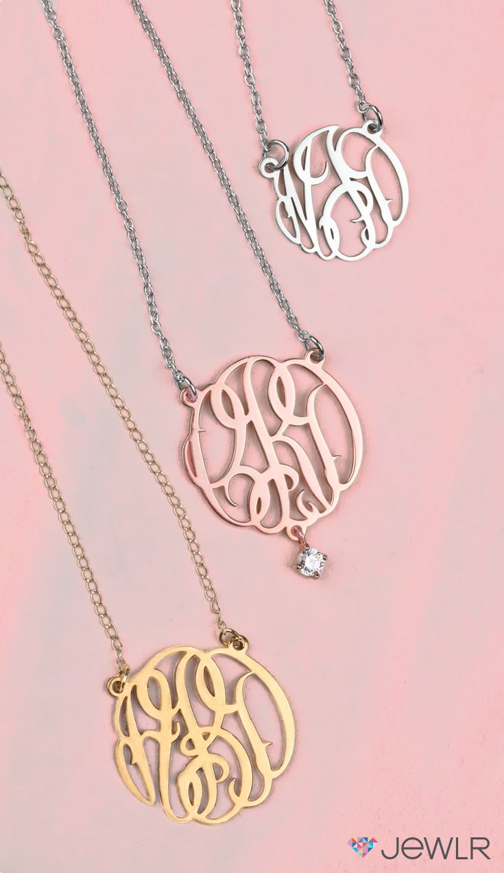 Monogram name pendant silver roses free gifts and initials