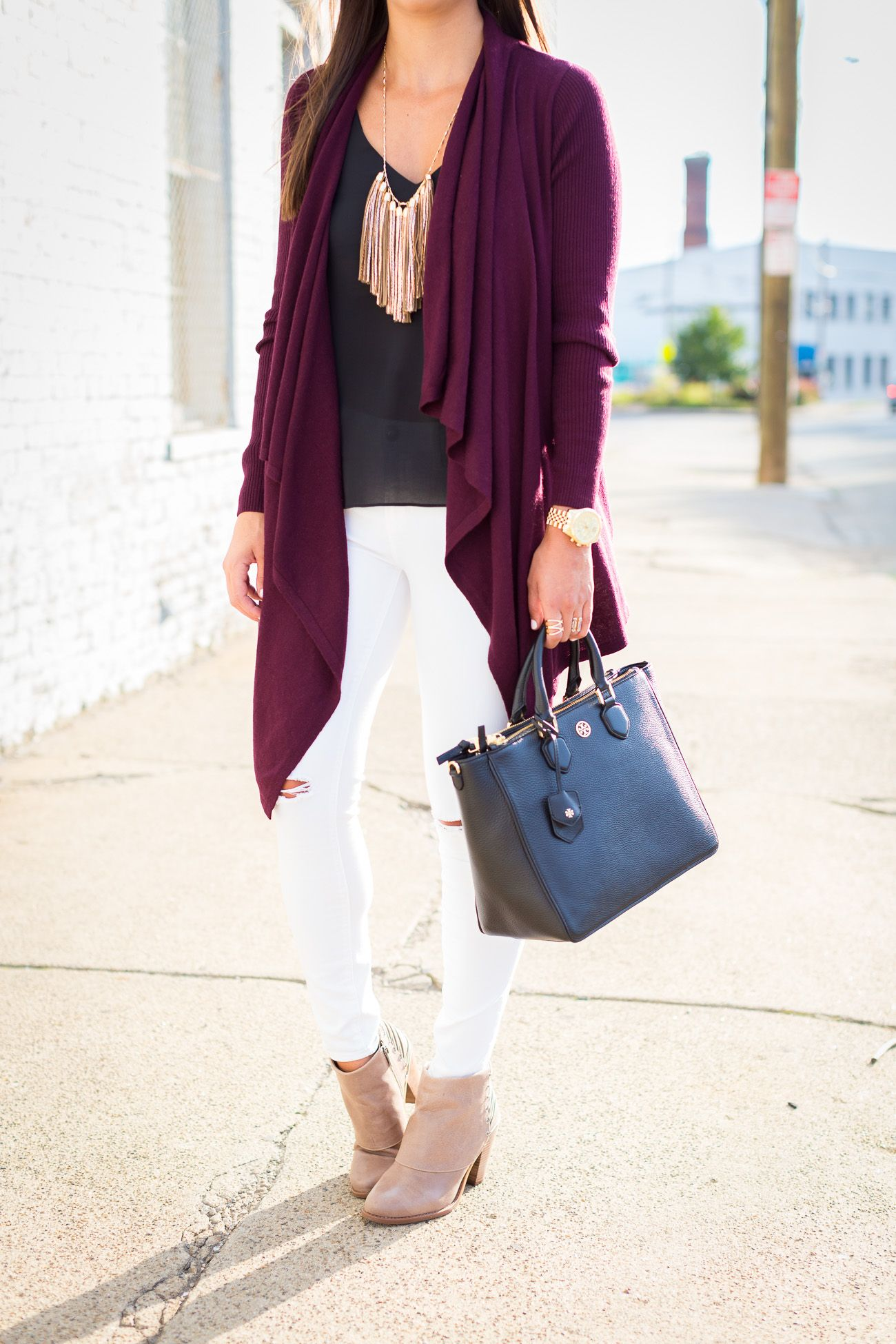 open front cardigan, fall style, drape sweater, tassel necklace ...