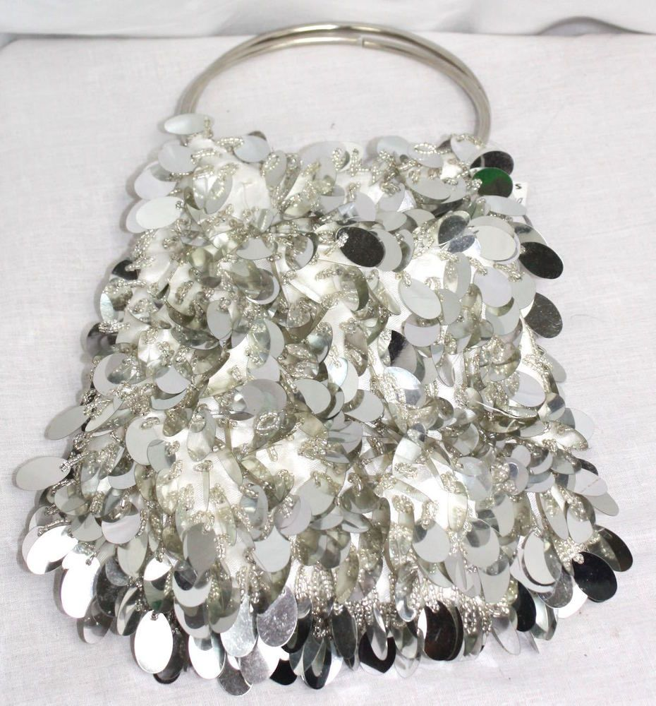 Styles for Less Beaded Large Sequins Ring Handle Silver Fancy Purse NWT #StylesforLess #EveningBag