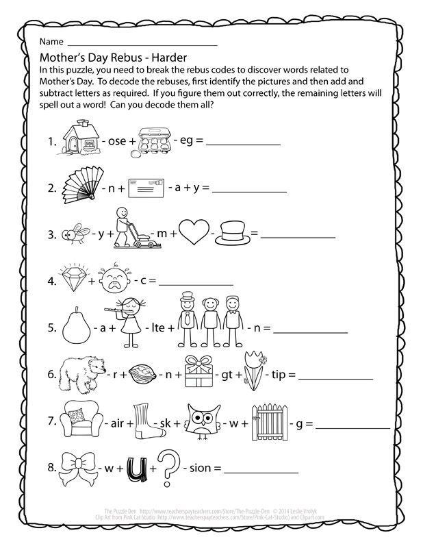 Perplexing Puzzles 5 7 14 Mother S Day Edition Brain Teasers For Kids Mother S Day Games Rebus Puzzles