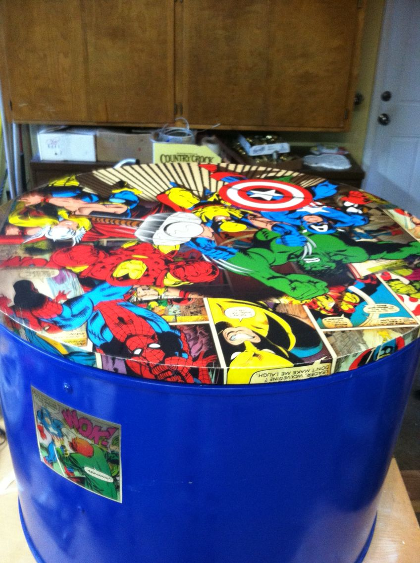 up cycled dryer drum turned into an avengers toy box yes it opens