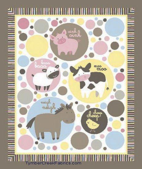 Animal Talk Nursery Baby Fabric Quilt Panel Pearls Decor