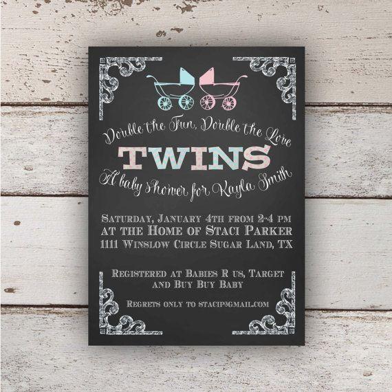 chalkboard twin baby shower invitation (boy/girl) | twin baby, Baby shower invitations