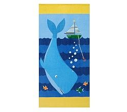 4 of 6 Pottery Barn Kids Hooded Baby Beach Wrap Towel NWT Whale 34 X 23