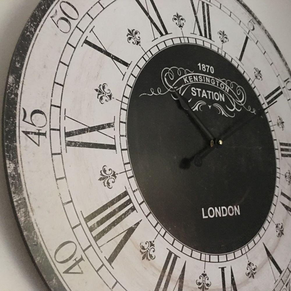 Large Round Wooden Wall Clock Kensington London Station
