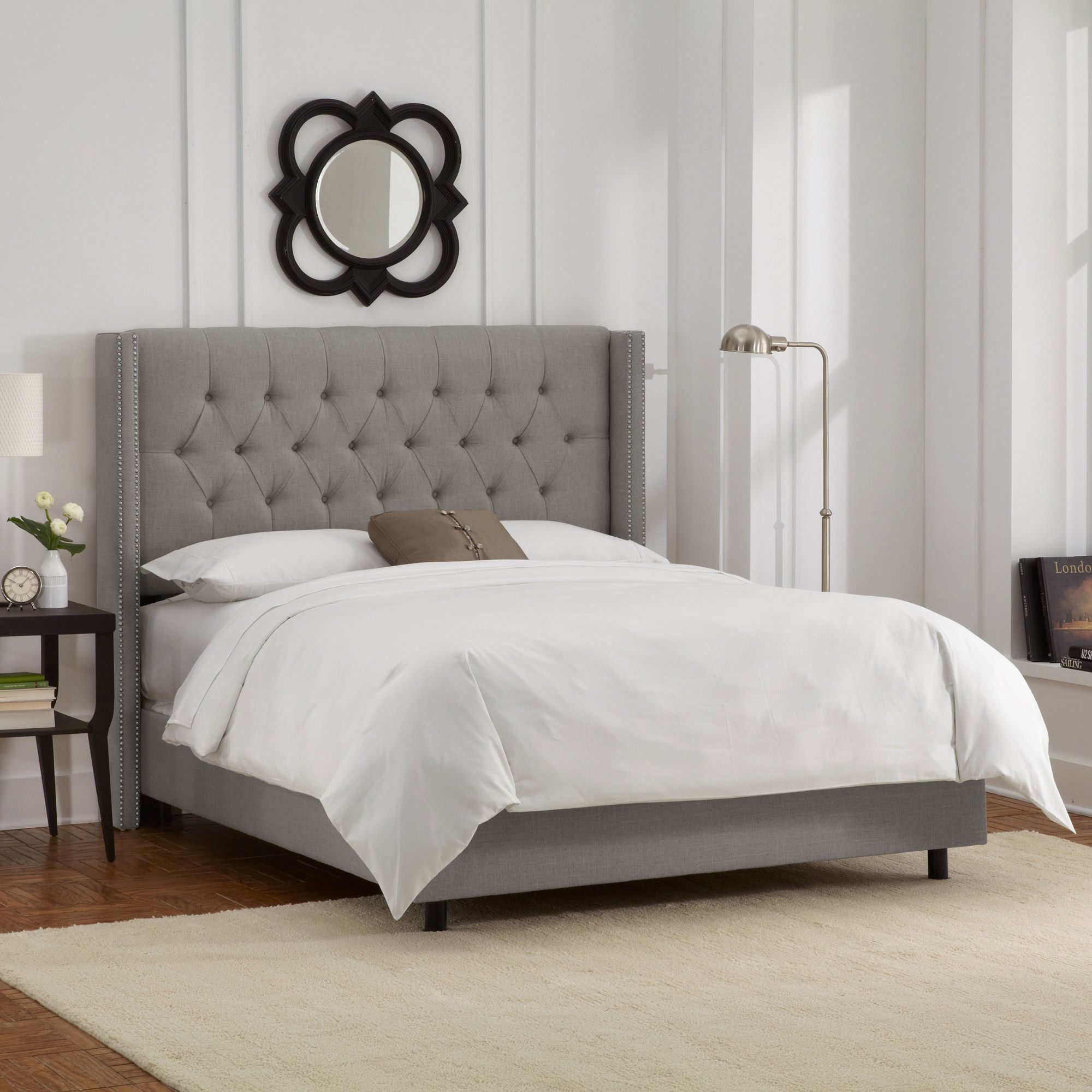 skyline furniture  linens tufted headboards and wood furniture - full diamond tufted wingback nail bed in linen gray  skyline furniture home gallery stores