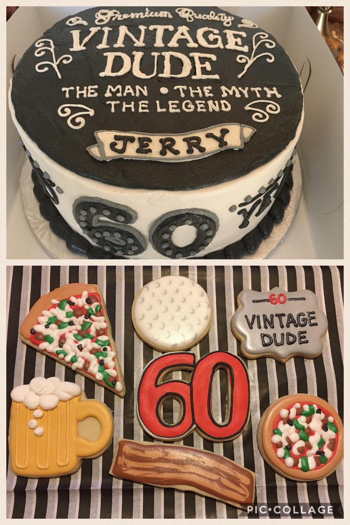 60th birthday cake cookies favorite things vintage dude