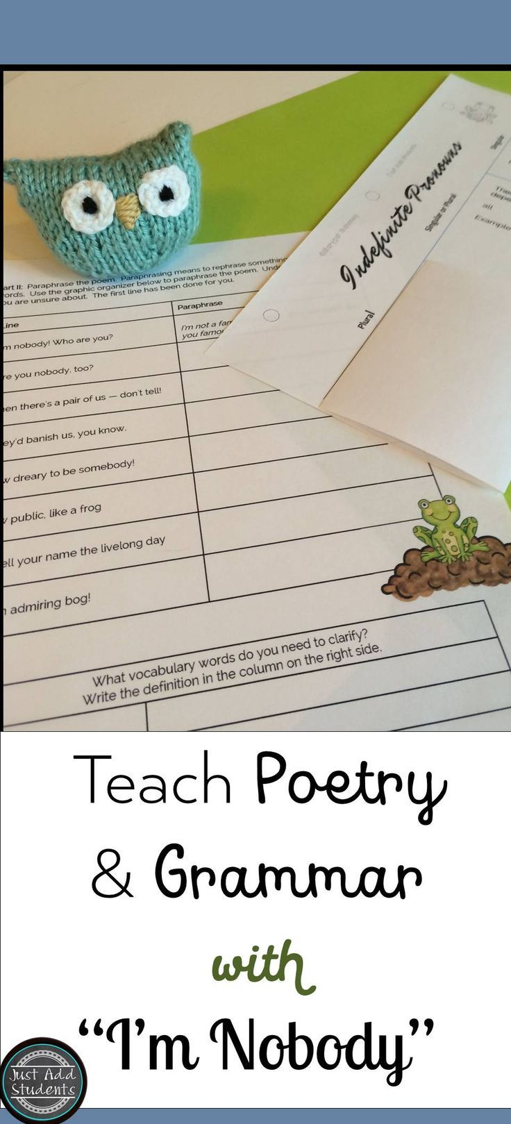 Emily Dickinson I M Nobody Poetry 6th Grade Activitie Teaching High School English Teacher Paraphrase Hope The Thing With Feathers