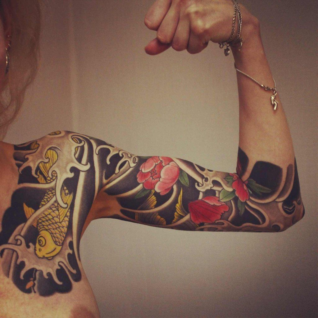45 amazing japanese tattoo designs tattoo easily - Lotus And Carp Japanese Sleeve Tattoo