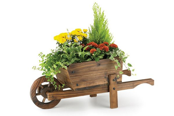 Small Wooden Wheelbarrow Planter For The Garden Or Patio Spring Garden Decor Wheelbarrow Planter Small Flower Pots