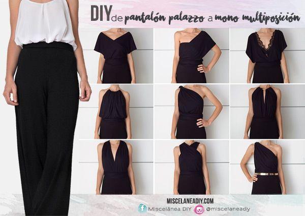 f063dbe2d02 DIY Sewing | Cómo hacer un mono largo multiposición de unos pantalones  palazzo. Palazzo pants | Infinity dress | Infinity jumpsuit