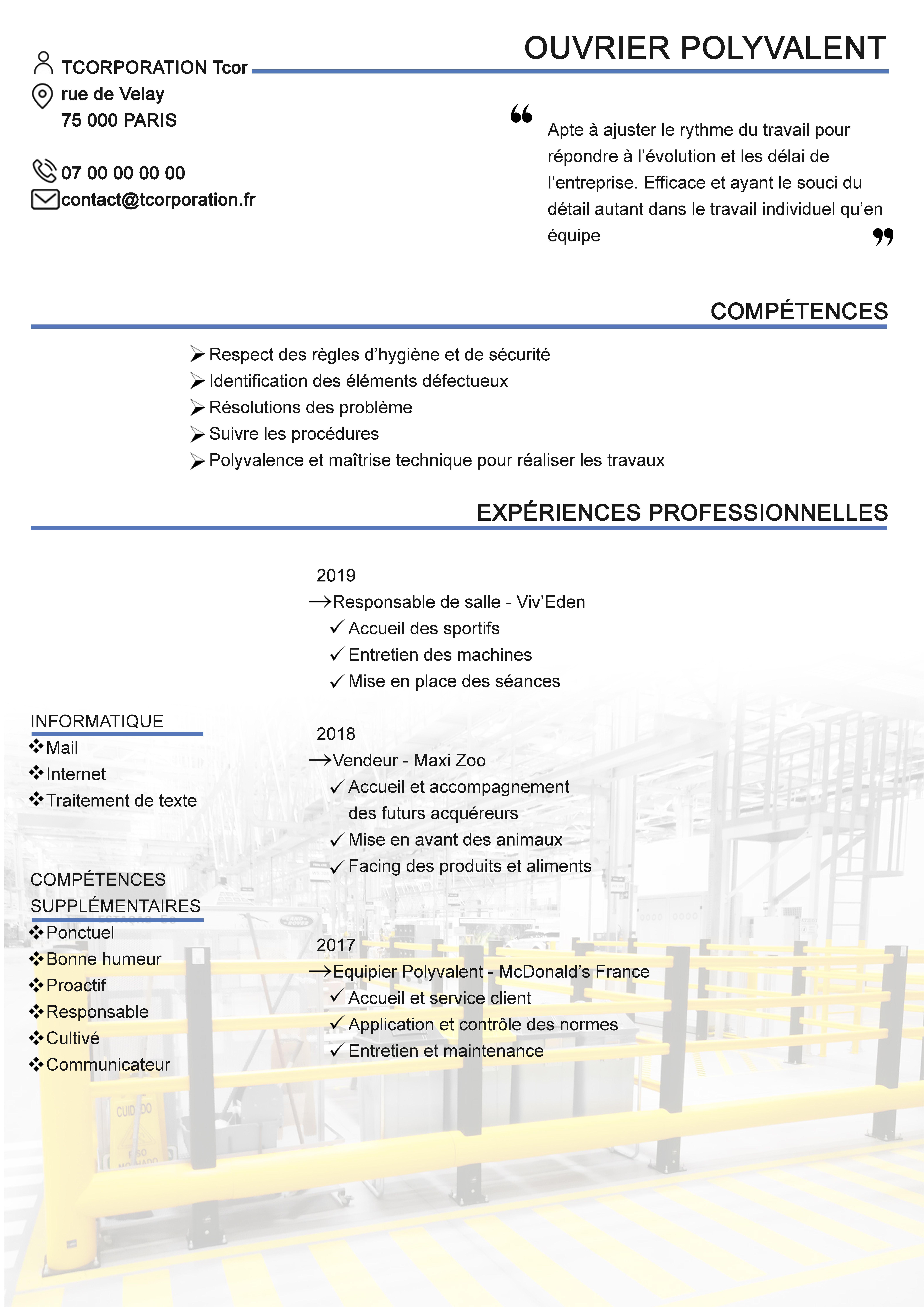 Ouvrier Polyvalent Cv Experiences Professionnelles Formations Competences Cv Simple Le Cv Competences