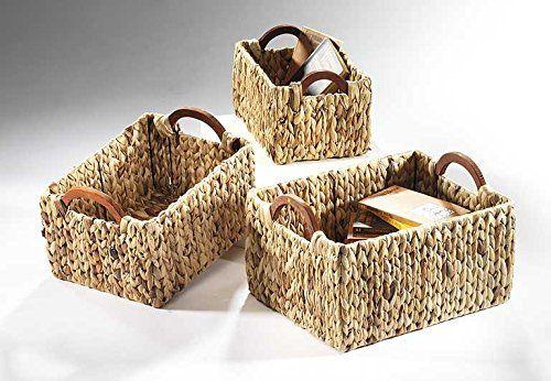 Shelf basket square wood handle Wasserhya (set)