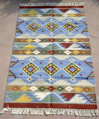 Free Shipping Indian Handwoven Kilim Rug Dhurrie Multicolored Boho Wool