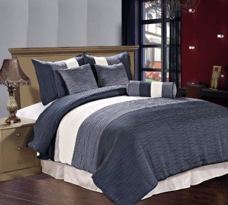 Amber 7 Piece Jacquard Comforter Set, Slate Blue And Gray Bedding