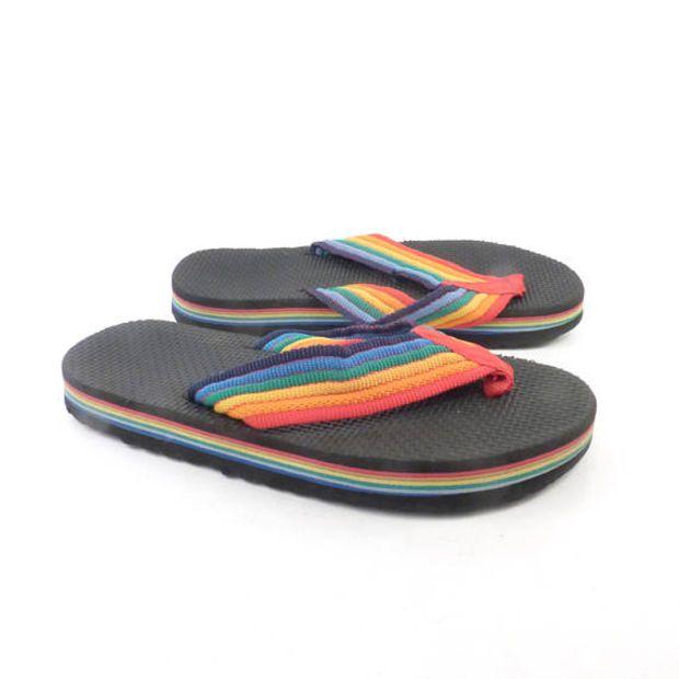 9adcb7c351d6 70s Rainbow Flip Flops Vintage Sandals Thongs Thick Foam Stripe ...