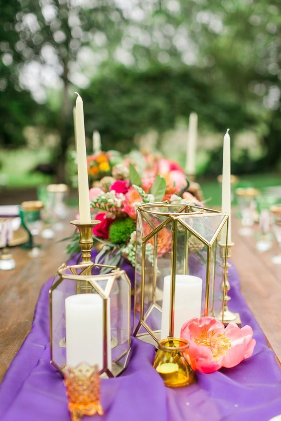 purple and pink wedding centerpiece ideas / http://www.deerpearlflowers.com/unique-wedding-centerpiece-ideas/