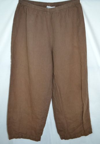 Hot Cotton Size Med Petite Brown Linen Blend Pull on Pants Crop Free US Shipping | eBay