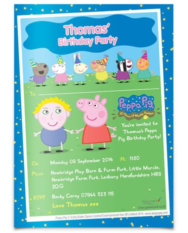 Personalised Peppa Pig Invites Officialpeppauk Peppa Pig Party