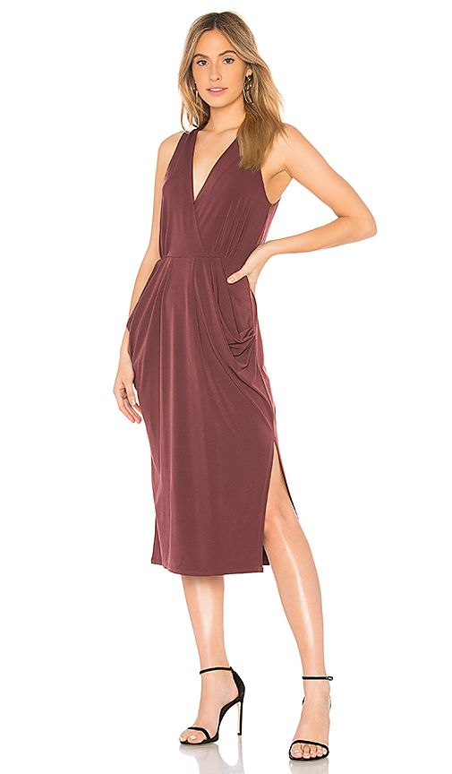 274d339e2b Shop for BCBGeneration Deep Draped Dress in Burgundy at REVOLVE ...