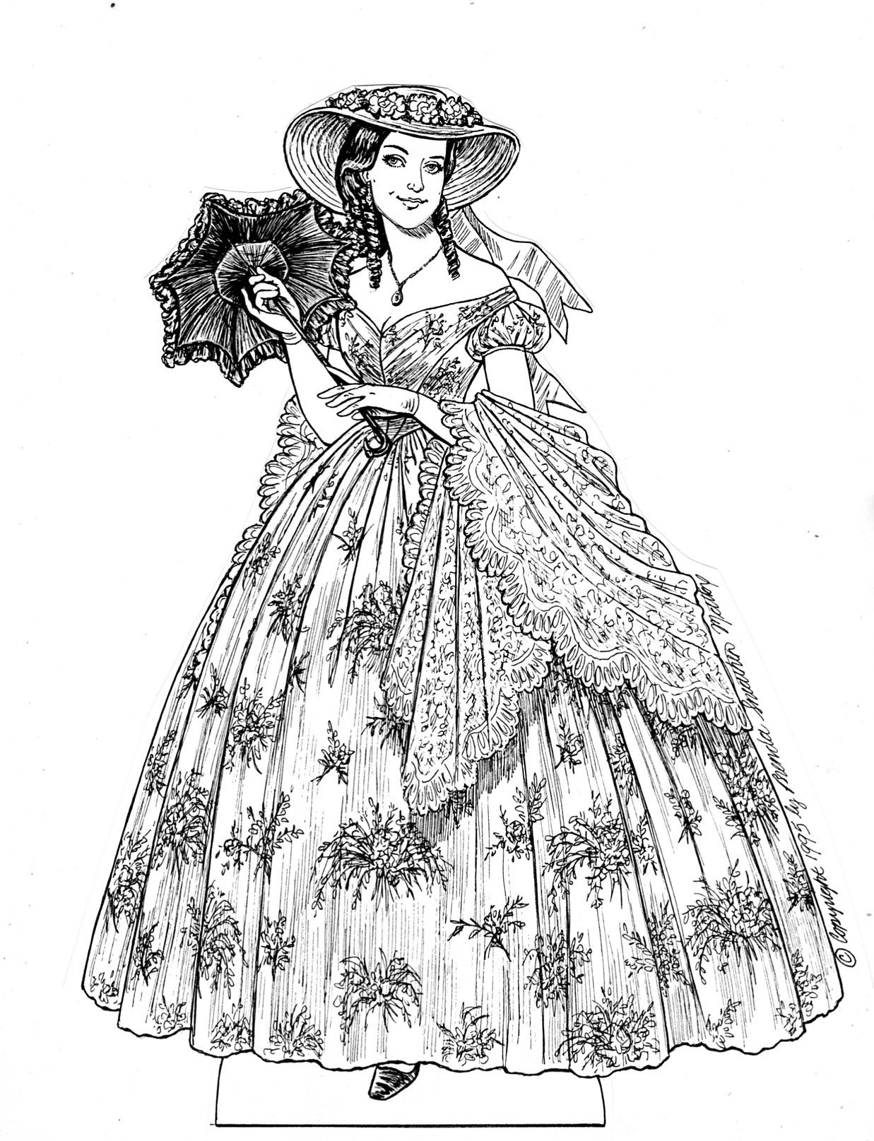 "This is my definitive Scarlett O'Hara set with costumes based on descriptions in the book rather than the movie.  Also includes those from the sequel ""Scarlett"". 13 pages, $15. To see more, click here http://www.fancyephemera.com/gonewiththewind.html#SCARLETT"