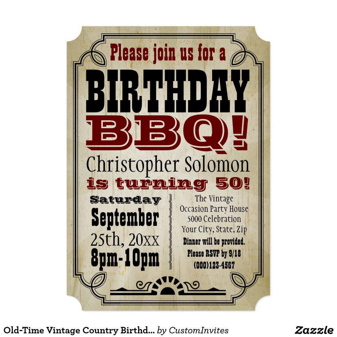 Old-Time Vintage Country Birthday BBQ Party Card | Country ...