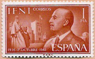 Sello Ifni de 1 peseta, 1 de octubre 1936-1961, General Franco - Portal Fuenterrebollo