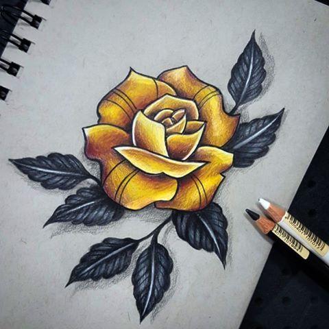 Golden Rose Up For Grabs Tattooartist Tattoos Tattoo Colortattoo Tattoodesign Yellow Rose Tattoos Coloured Rose Tattoo Tattoo Designs And Meanings