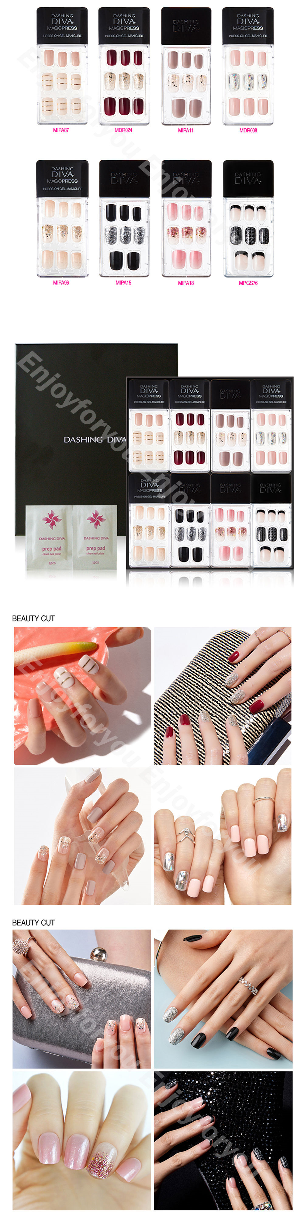 Artificial Nail Tips: Dashing Diva 1 Second Nail Glitter Bling Point ...