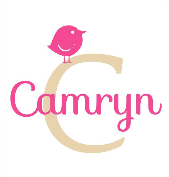 Monogram Vinyl Decal Name Initial With Bird By CustomVinylbyBridge - Personalized custom vinyl wall decals for nurserypersonalized vinyl etsy