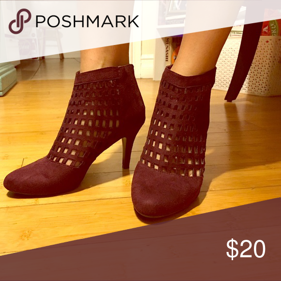 Burgundy Suede-like Cage Heels Sz. 8 Sexy burgundy, deep wine red colored cage heels. Comfortable, worn once. Sz. 8 Impo Shoes Heels