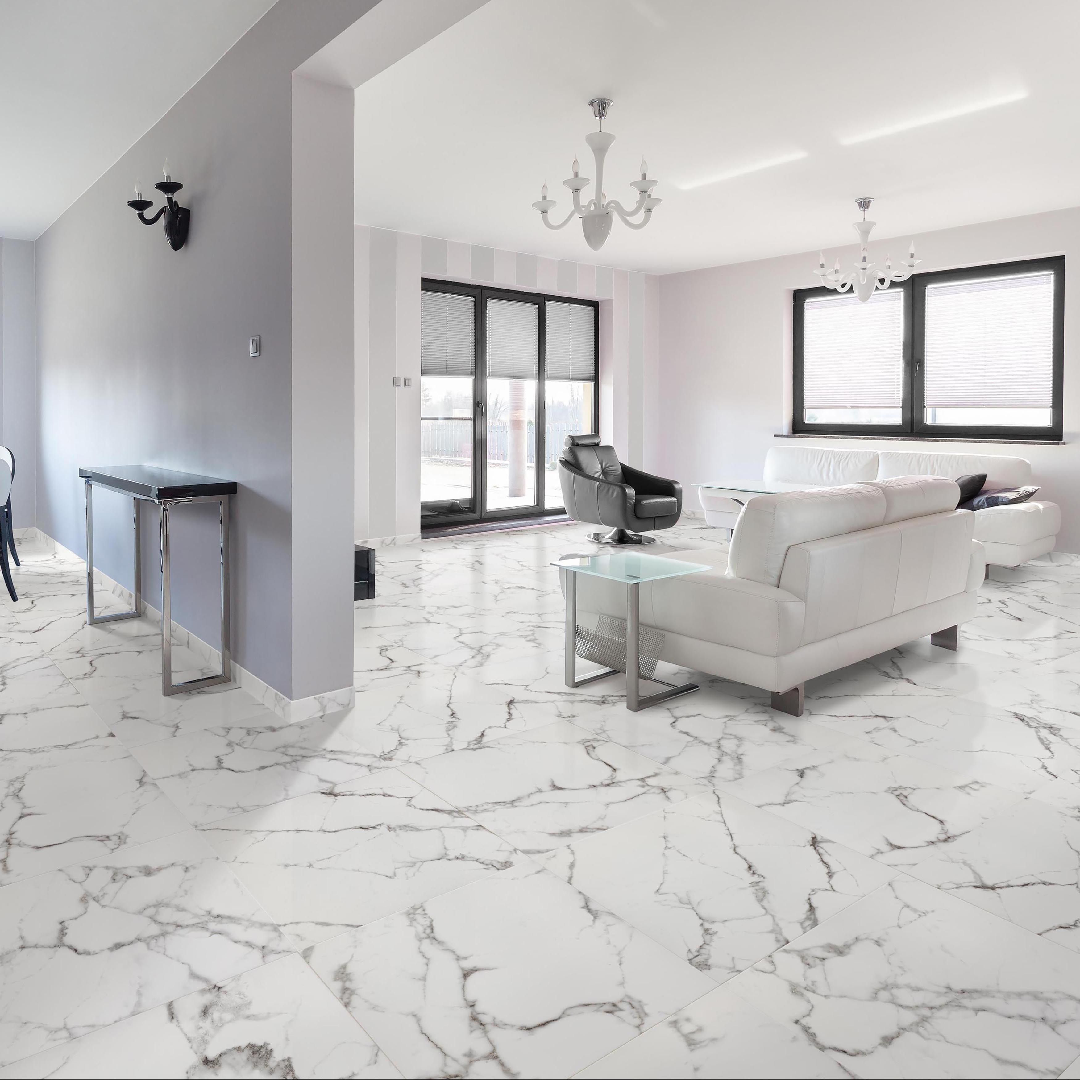Somertile 18x18 Inch Classic Calacatta Ceramic Floor And Wall Tile