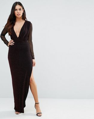 3bf1d2e829 Hedonia Deep V Maxi Dress With Sheer Sleeves