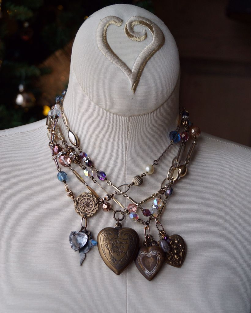 Vintage assemblage heart and locket necklaces