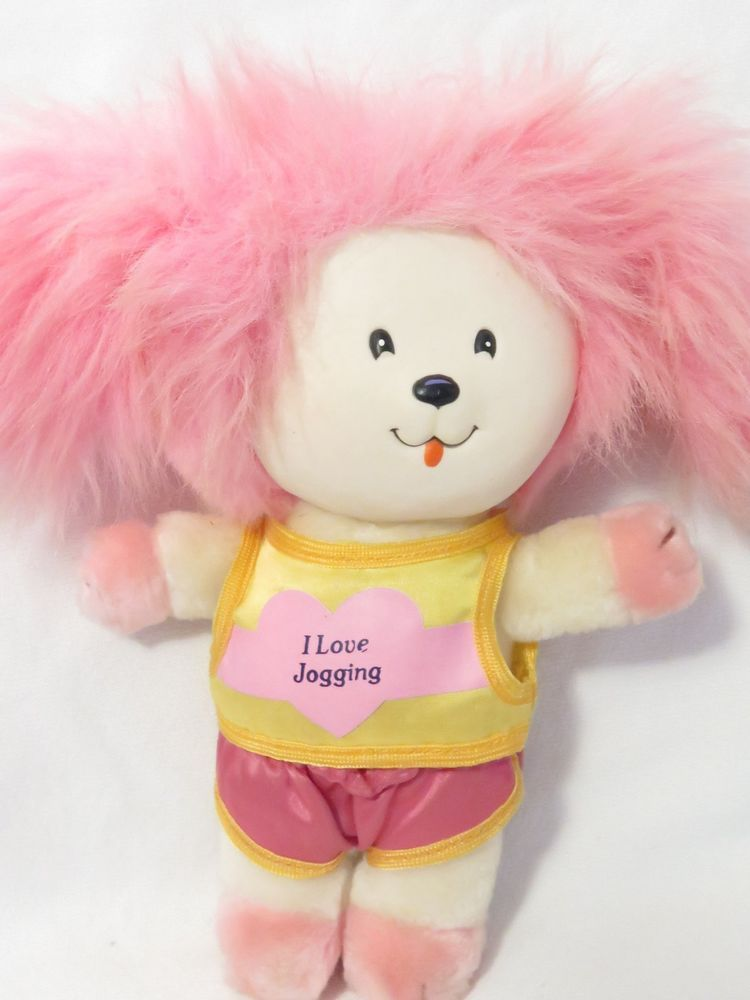 Vintage 1983 Poochie Plush Stuffed Dog W Plastic Face Pink I Love