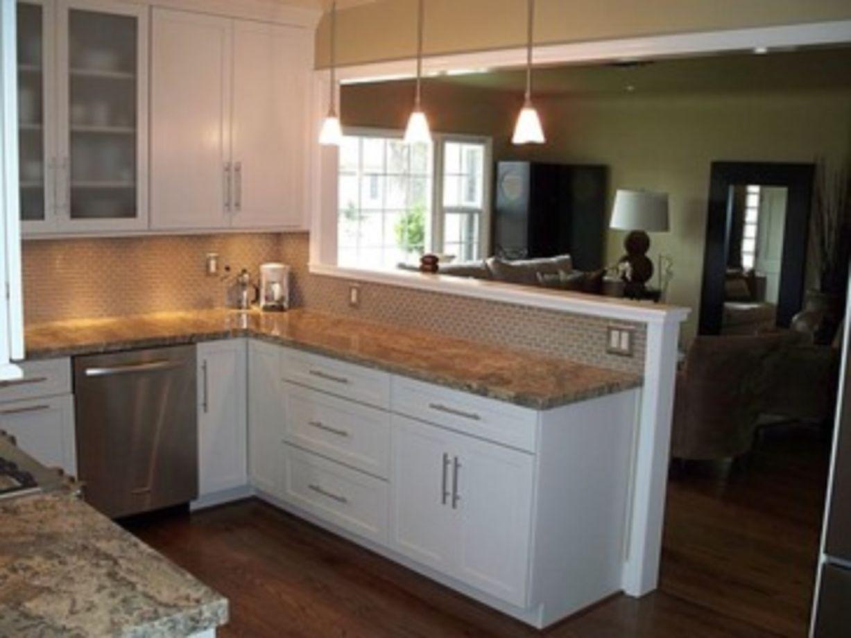 60 Stunning Half Wall Kitchen Designs Ideas Roundecor Kitchen Layout Living Room Kitchen Kitchen Remodel Small Kitchen half wall decorating ideas