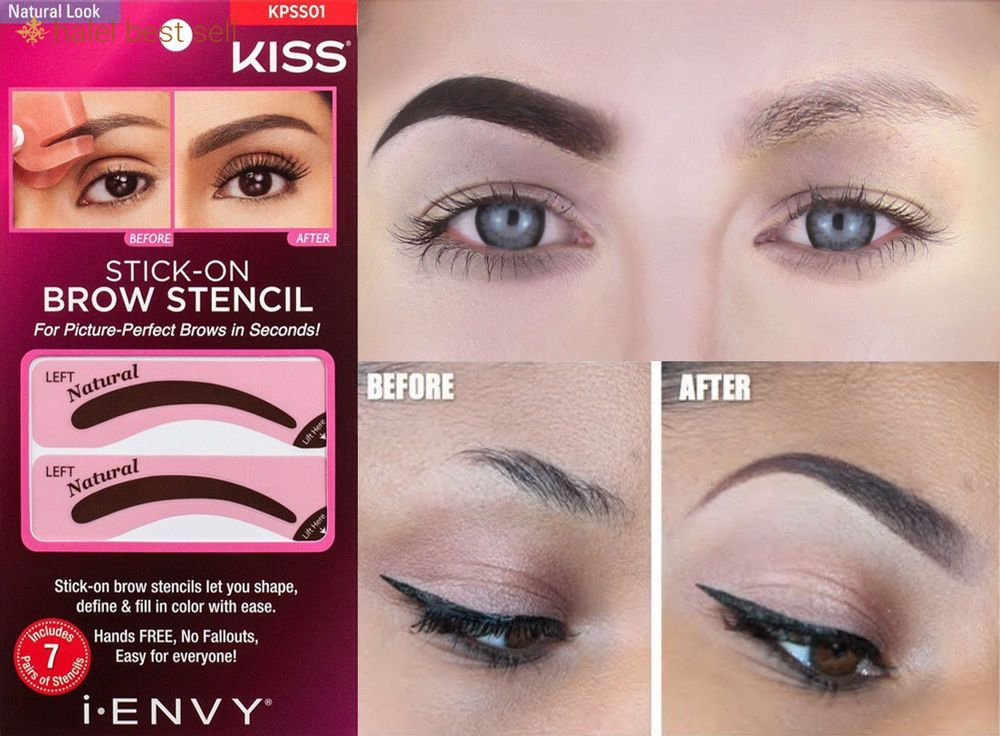 7 Paires Natural Look Shape I Envy By Kiss Brow Stamp 4 Perfect Eyebrow Ebony IEnvy