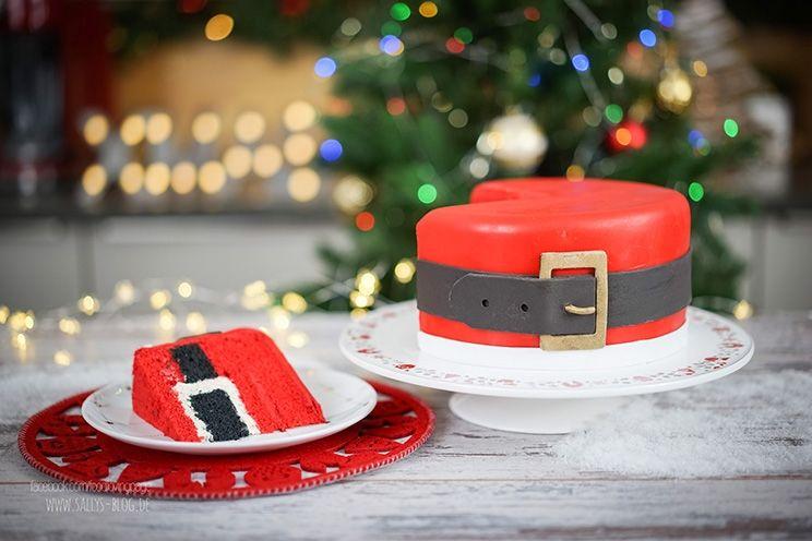 Diese Motivtorte sieht von außen aus wie der Bauch vom Weihnachtsmann mit seinem schwarzen Gürtel. Im Innern der Torte wiederholt sich das Muster, somit ist die Torte eine Inside Surprise Cake. Zubereitung: 4 Std. Backzeit: jeweils 30 Min. Kühlzeit: 3-4 Std. Zutaten für eine 20 cm Torte: Rührteig: 6 Eier 300 g Zucker 1 Pr. …